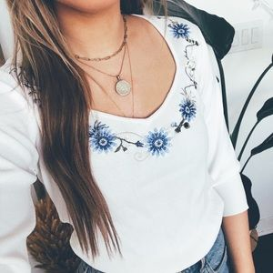 Trendy White Top with Embroidery